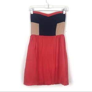 Spatially & Fade Tube Top Color Block Dress